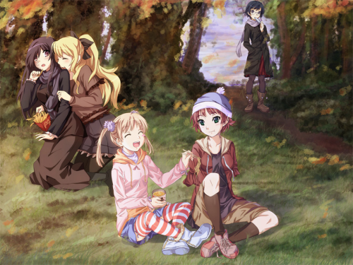 Katawa Shoujo cast on an autumn picnic.